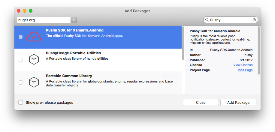 Pushy - Additional Platforms - Xamarin (Android)